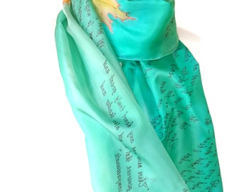 Robert Frost Literature Scarf literary bookish Gift for book lyric lovers Silk Hand Painted Scarf READY to Ship more color available,