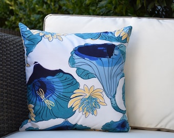16 x 16 Inch, Lotokoi, Floral Print Outdoor Pillow, Teal