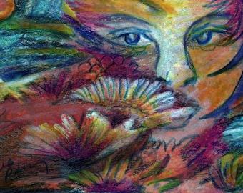 original art  aceo drawing floral girl