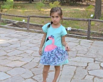 Flamingo Dress, Girl's Dress with flamingo, ballerina dress,Toddler or Girls Dress,Flamingo Applique,Choose Color or Sleeve,Turquoise dress
