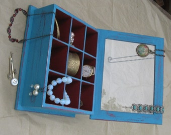 Wooden Jewelry Box Shabby Chic Turquoise & Bourdeaux , Jewelry Storage, earrings organizer