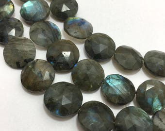"""128 Carats Labradorite Faceted Coins 12 to 15 mm 8.5""""/Gemstone Beads/semi Precious Beads/labradorite Beads/Faceted Coins"""