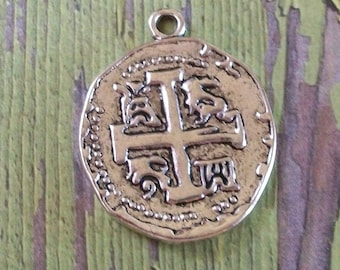 Cross Silver Pewter Coin Charm Disc or Pendant