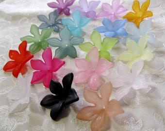 Large Flower Beads Frosted Lucite Acrylic Choose Your Colors Mix 28mm 417
