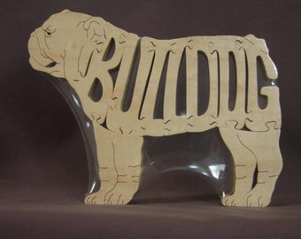 English Bulldog Dog Choice Puzzle Wooden Toy Hand Cut with Scroll Saw