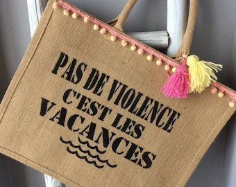 Burlap Tote trendy special Beach and vacation!