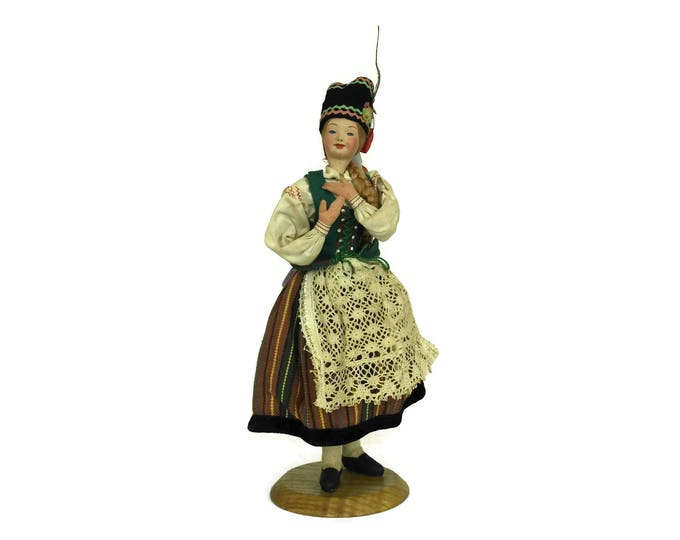 Poland Souvenir Doll in Traditional Clothing. Polish Folk Costume Dress. Vintage Collectible Art Doll.