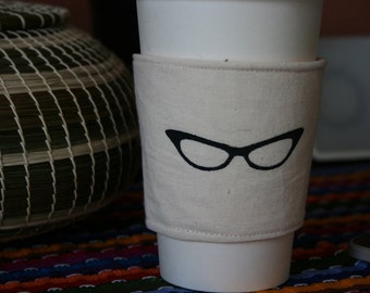 Cat eye glasses cup cozy