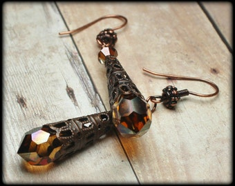 Dripping with Honey... Handmade Jewelry Earrings Beaded Crystal Amber Copper Antique Brass Sparkly Long Drop Teardrop Cones Filigree Metal