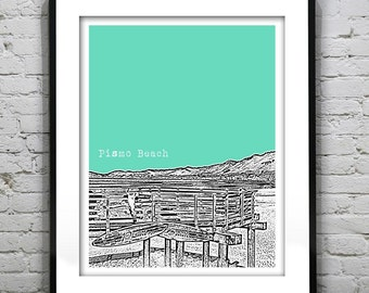 Pismo Beach CA Skyline Poster Art Print California