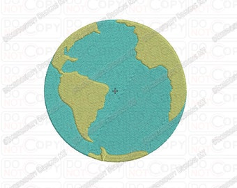 Earth World Globe Embroidery Design in 2x2 3x3 4x4 and 5x7 Sizes