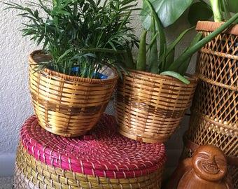 Set of 2 Wicker Planter baskets