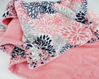 Personalized Coral & Navy Floral Minky Baby Blanket - Made to Order