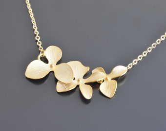 Orchid flower yellow gold necklace,Wedding,Bridal,Bridesmaid,Anniversary,Christmas,Mothers,Teacher, Birthday, Gift,Valentines gift.