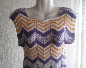 Vintage Hand Knit Top,Stripes Top,Purple Yellow White Stripes Knit Top,Handmade 80s Colorful Top,Thin Knit Summer Vintage Women's 80s Top