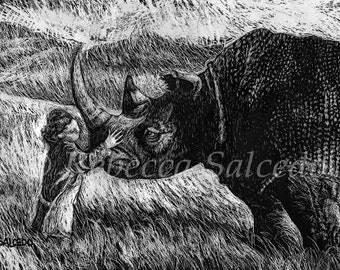 Impression de Scratchboard Rhino à l'enfant de Rebecca Salcedo EBSQ artiste A4C