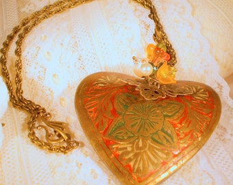 I Hold You In My Heart OOAK Vintage Style Necklace