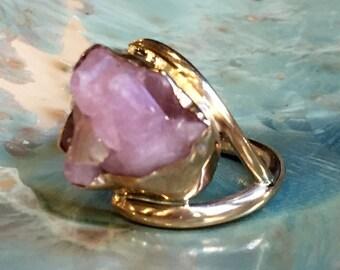 Raw Rose quartz Ring, yellow gold ring, gold filled ring, gemstone ring, ooak ring, statement ring, rose gemstone ring - So long ago R2431