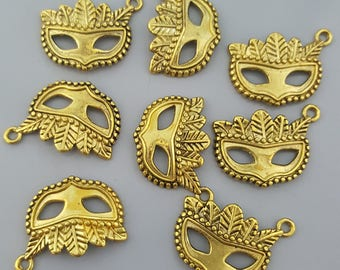 8 Pcs Masquerade Mask Charms, Gold Tone, 21x15mm