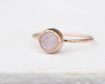 14K Rosé Gold stackable Ring with faceted Moonstone
