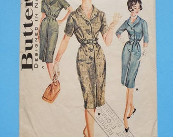 1950s or 1960s  Vintage Butterick Sewing Pattern for Shirt Dress 9823