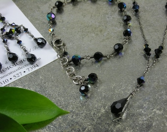 Midnight Rain Necklace - Swarovski Crystals