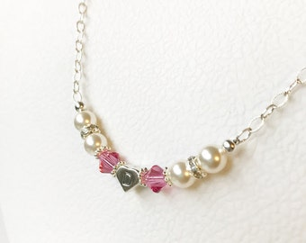 Heart Initial Sparkling Pearl, Crystal, and Rhinestone Necklace N070