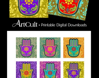 2x2 inch images Printable Download HAMSA AMULETS digital collage sheet for mini cards magnets scrapbooking paper pendants by ArtCult
