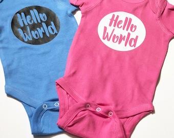 Hello World Onesie Bodysuit