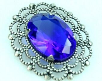 Sapphire Blue Glass Jewel In Antique Silver Filigree Setting Pendant