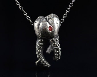 SALE Sapphire Wisdom Tooth Tentacle Pendant, Octopus jewelry, tentacle jewelry, OctopusME, Molar, sterling silver