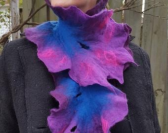 Felt Scarf Deep Blue and Purple Merino Wool Felt Scarf Enchanted Faerie One Of A Kind Wearable Art
