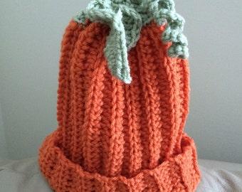 Newborn - 6 Month Baby Pumpkin Hand Crocheted Hat