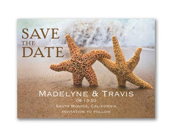Save-The-Date Magnets, Starfish Wedding Save The Date Magnet, Starfish Walking Hand In Hand, White Envelopes Included, Beach Wedding