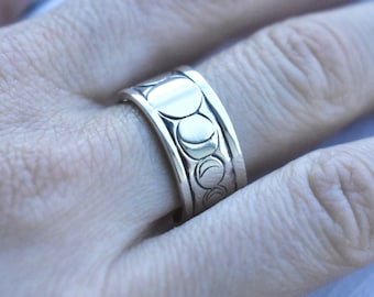 High-Shine Moon Phase Band // Sterling Silver Ring // Celestial Jewelry // Sterling Silver // Village Silversmith