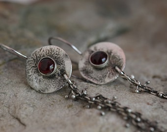 raw sterling silver and garnet earrings. Balled wire chains. rustic. 925 sterling silver.