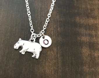 Hippo initial charm, animal jewelry, Hippo charm, gift for animal lovers, hippopotamus charm necklace AN12