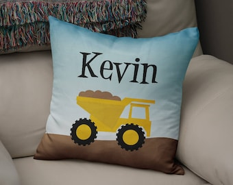 Truck Pillow Cover - Customized Twill Pillowcase - Construction Dump Truck - Personalized with Name - COVER only