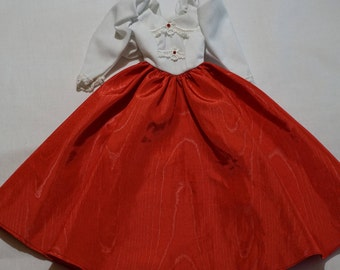 Barbie Doll Dress, White and Red