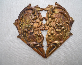 Large Vintage Oxidized Brass Floral Heart Stamping