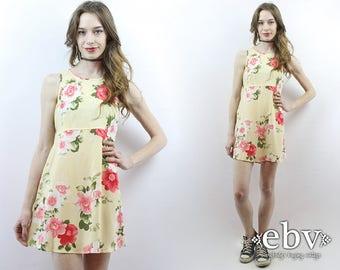 90s Floral Dress 90s Floral Sundress Yellow Sundress 1990s Dress 90s Dress Yellow Dress Floral Mini Dress 90s Mini Dress Babydoll Dress S