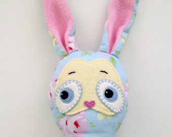 Soft cotton and felt springtime bunny toy, 19in, baby blue, yellow, pink