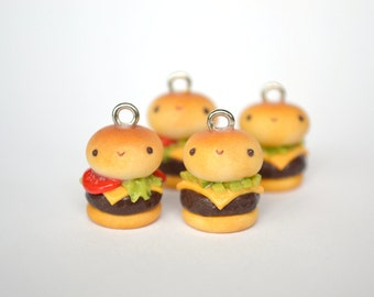 Hamburger Charm - Kawaii Miniature Food Polymer Clay