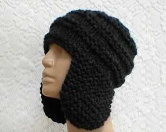 Charcoal gray ear flap hat, trapper cap, gray hat, knit hat, toque, gray beanie hat, mens womens hat, chemo cap, ski toboggan, winter hat