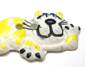 """SALE LG Ceramic CAT Button, Handmade Cheshire kitty with yellow stripes, 1 5/8"""""""