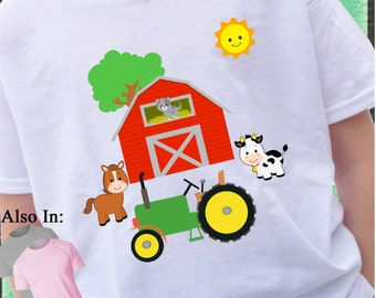 Farm Animal and Red Barn Shirt with Green Tractor Horse Cow Sheep Cat Red Barn future Farmer - farm shirt- farmer shirt- tractor shirt