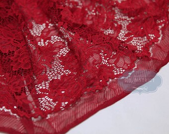 Fabric pattern red lace flowers