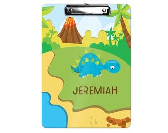 Personalized Kids Clipboard - Dinosaur Volcano Island Trees, Single Sided or Double Sided Custom Clipboard Back to School