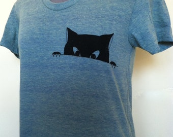 Cat Face T shirt Womens Fitted Sizes Small through XLarge