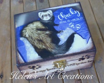 Pet Memorial Box, Ferret Memorial, Personalized Keepsake Box, Ferret Urn, Photo Keepsake Box, Photo Box, Custom Pet Photo, Urn